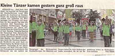 Zeitungsartikel vom 30.04.2015 Tag des Tanzes im Brückencenter mit Tanzschule Pohl